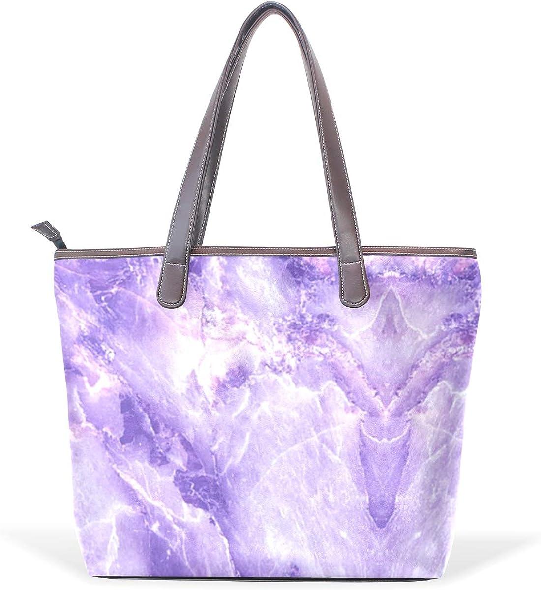 Purple MarbleWomens Vintage Leather Tote Urban Style Satchel Tote