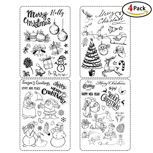 Christmas Stamps, Holody 4 Pack Rubber Clear Stamps Set for Card Making Xmas Party DIY Decorations Supplies for Kids (Christmas Stamps)