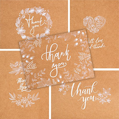(50 Thank You Cards - Kraft White Bulk Note Cards - Perfect for Your Rustic Wedding, Baby Shower, Business, Graduation, Bridal Shower, Birthday, Engagement)
