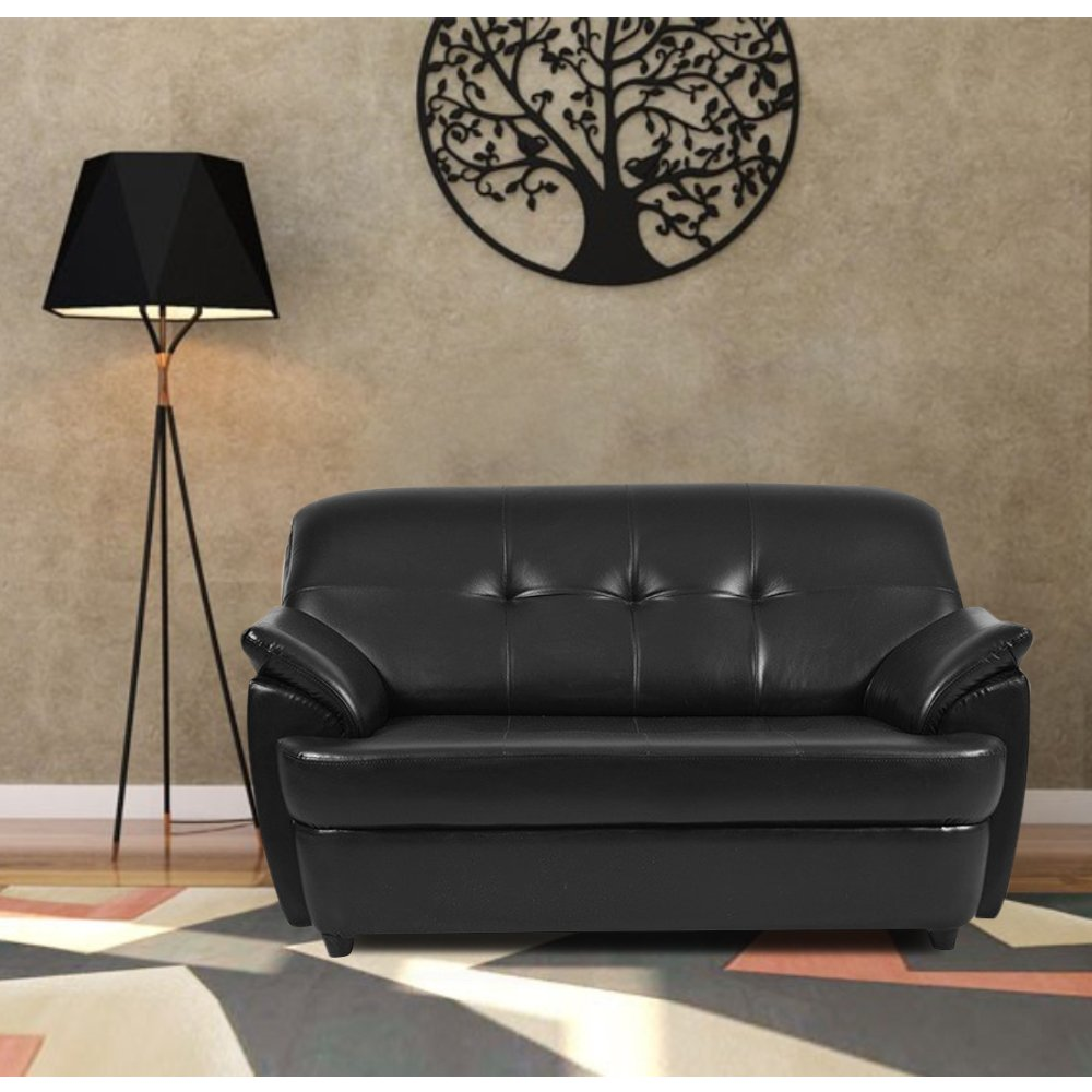 Furny Boston Two Seater Leatherette Sofa (Black)