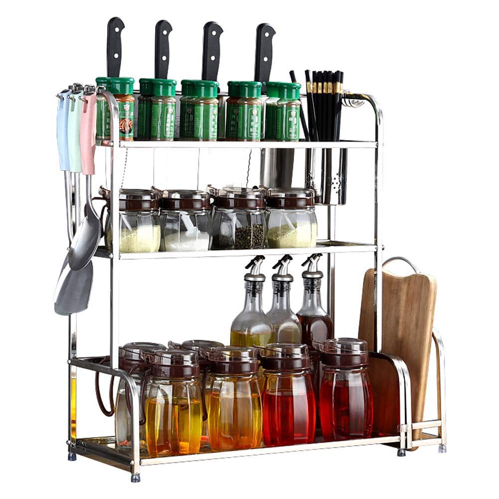 3-Layer Kitchen Counter Storage Rack for Seasoning Jars, with Cutlery Basket, Knife Holder, Cutting Board 58 22 ​​59Cm