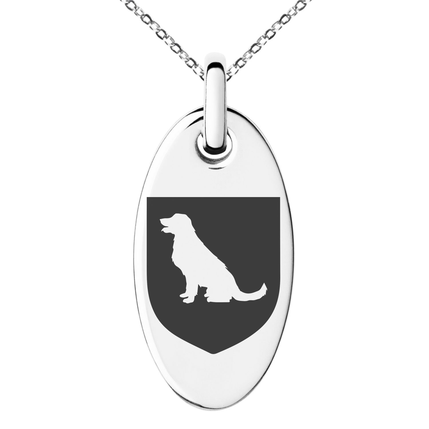 Tioneer Stainless Steel Dog Loyalty Coat of Arms Shield Symbol Engraved Small Oval Charm Pendant Necklace