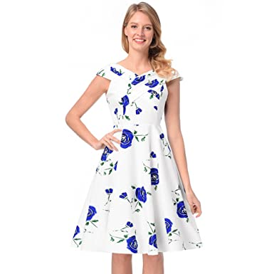 b2413011c1 Antaina Blue Floral Print 1950s Sweet Flared Night Out Party White Pleated  Dress