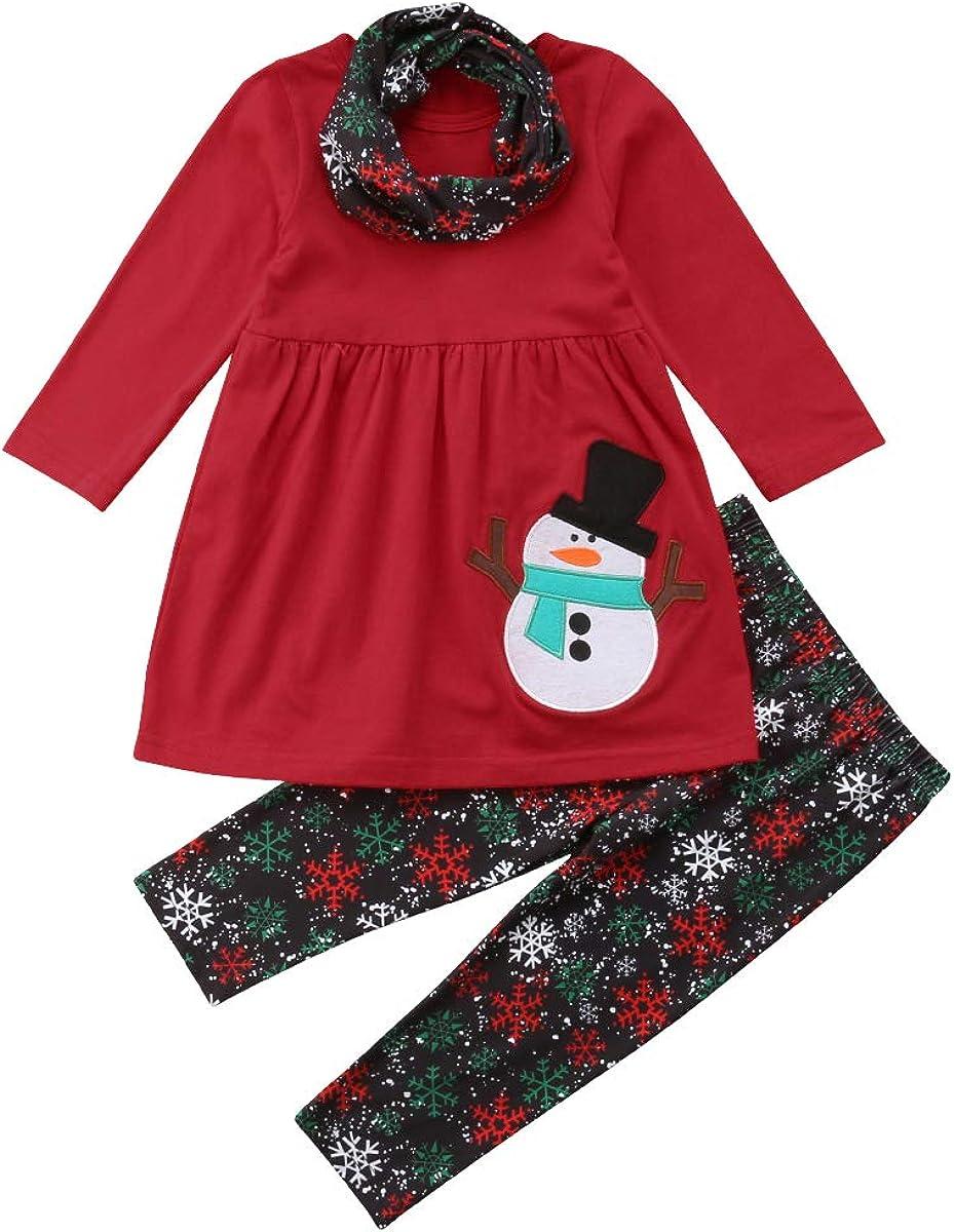 Christmas Girls Dress Long Sleeve Kids Dresses Cartoon Snowflake Print Costume
