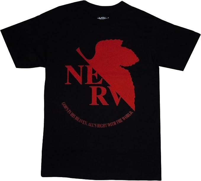 Neon Genesis Evangelion NERV Logo Black T Shirt Adult Small