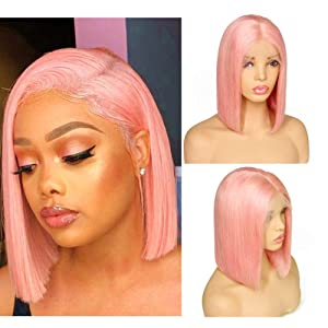 Loviness Short Bob Wig Pink Human Hair Wigs 8'' 10'' 12'' 14'' Middle Part Lace Front Silky Straight Hair Wigs 180% Density 13X4 Frontal Pre Plucked(8 inches)