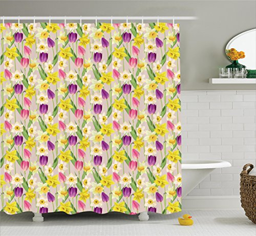 ecor Collection, Tulip and Daffodil Flower Stems with Leaves Summertime Vintage Floral Artwork, Polyester Fabric Bathroom Shower Curtain, 84 Inches Extra Long, Purple Yellow Green ()