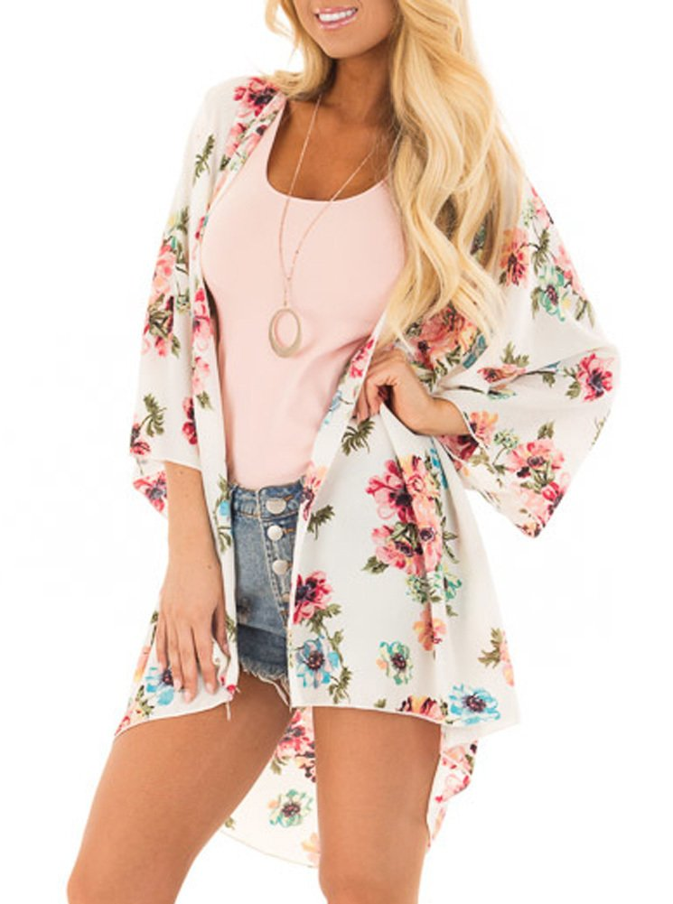 PINKMILLY Women Floral Print Kimono Cover up Sheer Chiffon Blouse Loose Long Cardigan Apricot Small by PINKMILLY (Image #2)