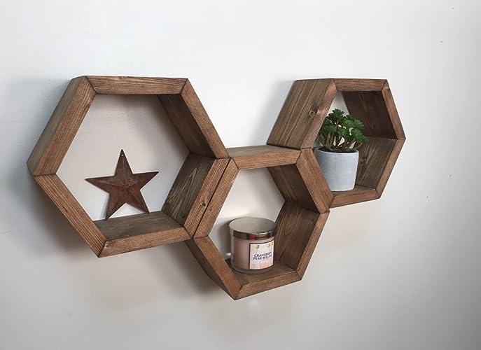 Ready To Ship Hexagon Shelves Wall Shelves Geometric Shelf Wooden