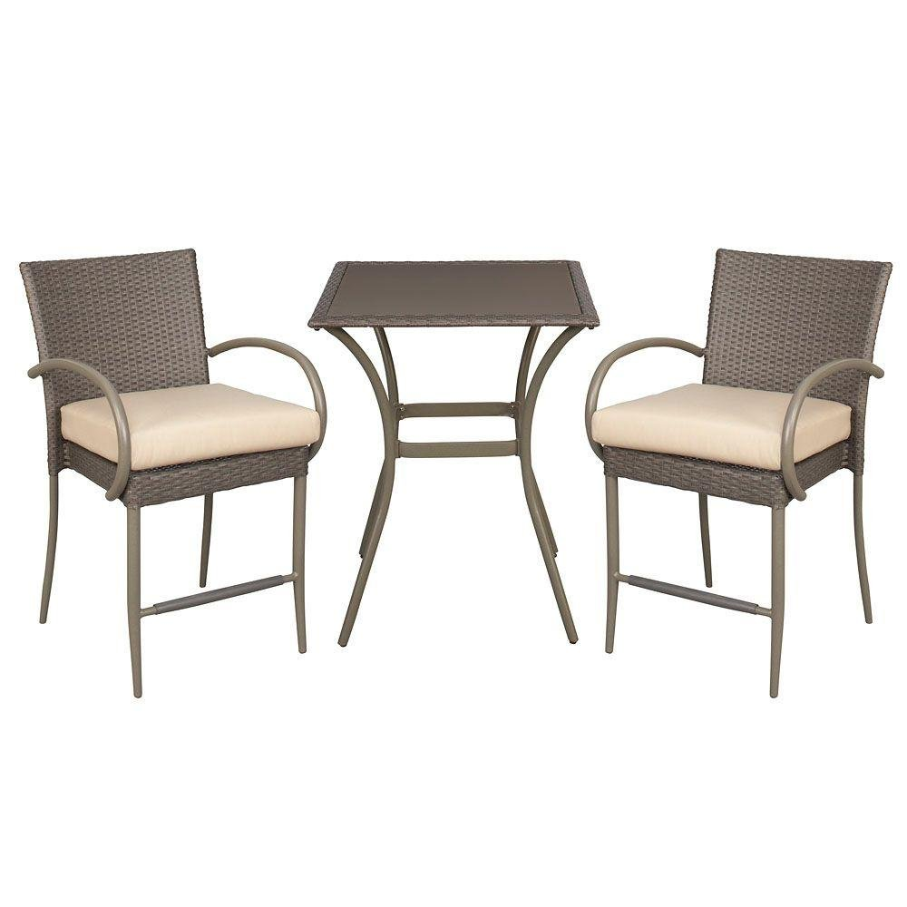 Amazon.com : Posada 153 120 3BAL NF 3 Piece Outdoor Patio Weather Resistant  Powder Coated Steel Frame Stackable High Bistro Set With Bare Cushions :  Garden ...