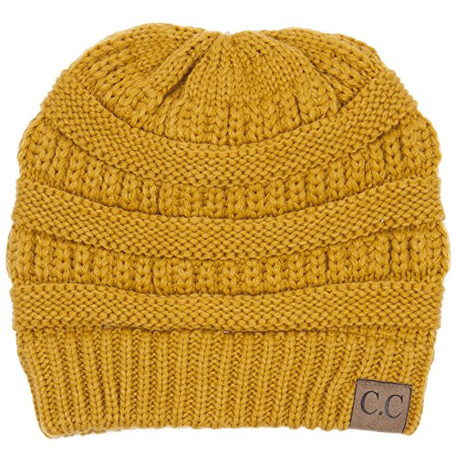 BYSUMMER C.C Warm Soft Cable Knit Slouch Beanie Hat (Mustard)