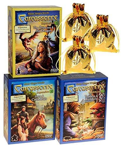 カルカソンヌ拡張セット (Carcassonne: Expansions 1 & 2 & 3 Bundle Set _ No. 1 Inns & Cathedrals; No. 2 Traders & Builders; No. 3 Princess and the) ボードゲーム
