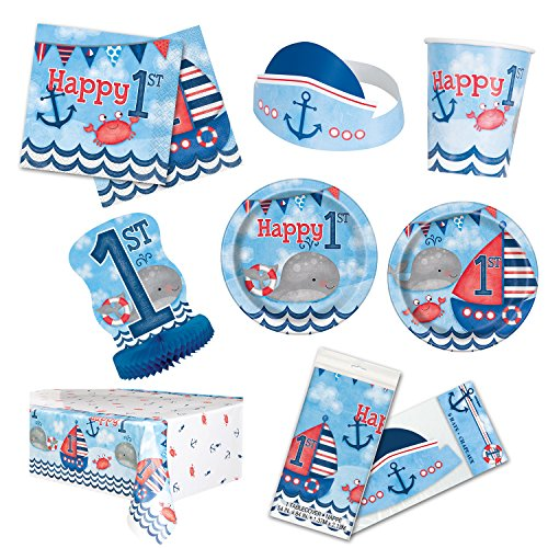 Unique Little Sailor Nautical First Birthday Party Bundle | Napkins, Plates, Table Cover, Cups, Hats, Centerpiece | Great for Sea/Marine/Ocean Themed -