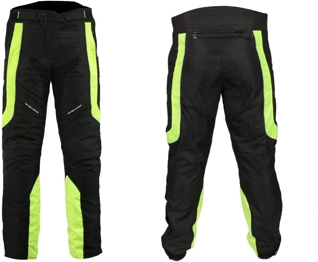 Mens Motorbike Motorcycle Waterproof Body Safety Protective Trouser With Removable CE Armour Padding BLUE, W34 - L31