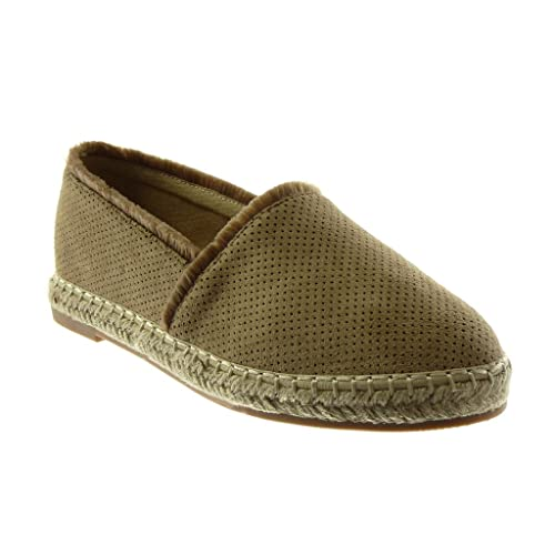 Angkorly - Chaussure Mode Espadrille Sandale slip-on femme perforée corde Effiloché Talon bloc 2 CM - Camel - WH855 T 40 Xv0E2Zah5Q