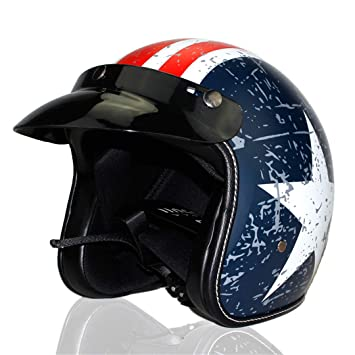 HOEMKUY Casco Moto Retro Vintage Cruiser Chopper Scooter Cafe Racer Casco Moto 3/4 Open