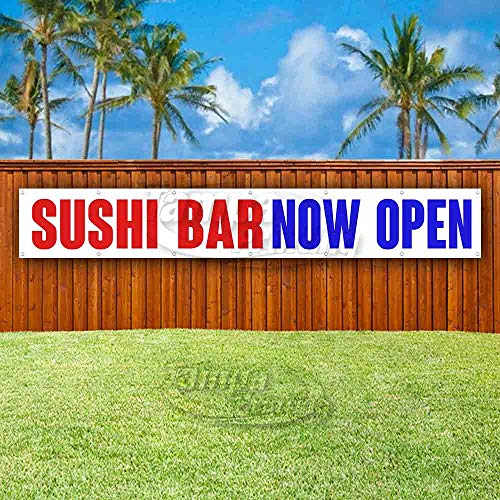 Sushi BAR Now Open Extra Large 13 oz Heavy Duty Vinyl Banner Sign with Metal Grommets, New, Store, Advertising, Flag, (Many Sizes Available)