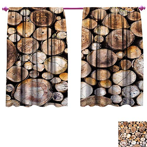 g Wide Curtains Wooden Logs Background Circular Shaped Oak Tree Life and Growth Theme Waterproof Window Curtain W120 x L72 Light and Sand Brown ()