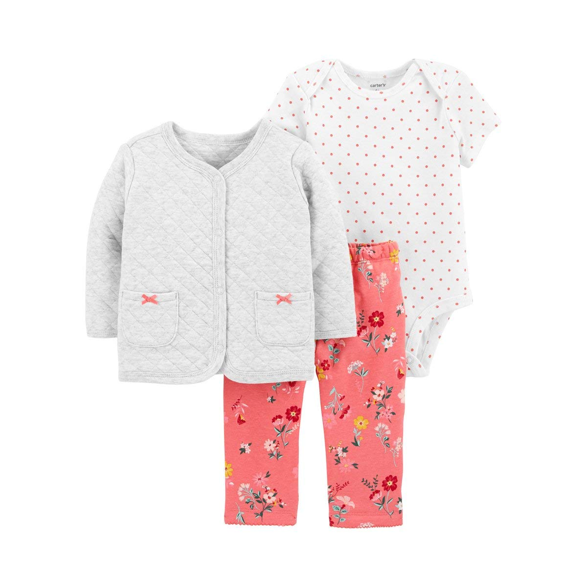8dbb9c0e8 Amazon.com: Carter's Baby Girls' 3-Piece Little Jacket Set (Quilted/Pink  Floral, 18 Months): Clothing