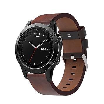 Cuero Correa para garmin fenix 5, Fossen Lujo Reloj de repuesto Banda con Herramientas para Garmin Fenix 5 GPS (Marrón): Amazon.es: Deportes y aire libre
