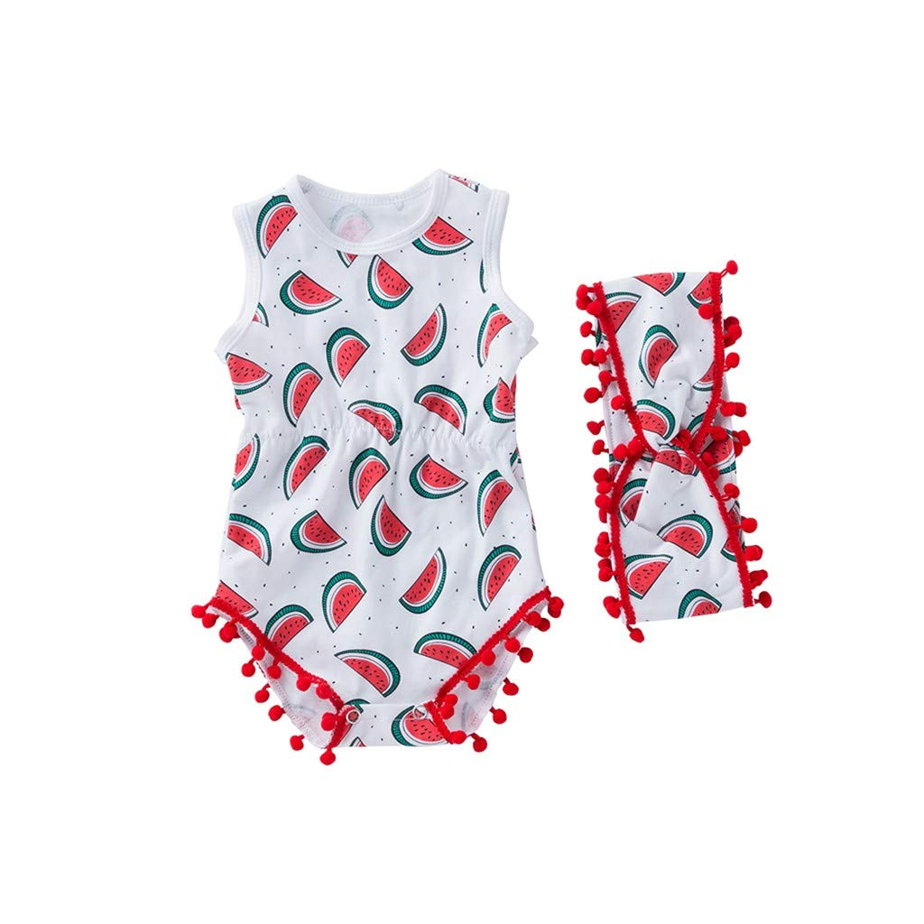 NUWFOR Toddler Baby Sleeveless Cartoon Print Shell Romper+Headbands Set Outfit(Red,3-6 Months)