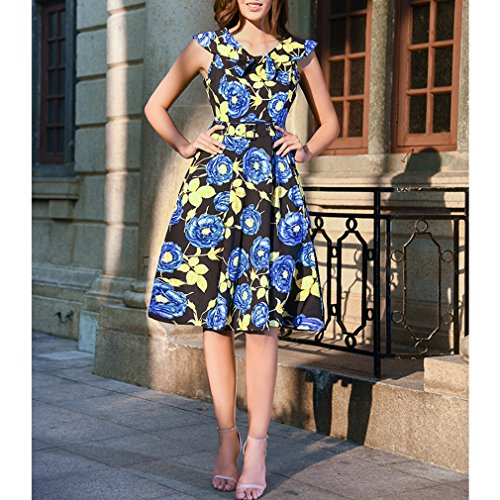 Honghu Verano Vintage Sin Mangas Cuello Floral Impresión Por la Rodilla Plisado Printing Vestido para Mujer Azul