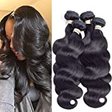 ALLRUN Hair 7A Virgin Brazilian Body Wave Hair 3 Bundles Weave 100% Unprocessed Remy Human Hair Extensions Black Color 12 14 16 inch