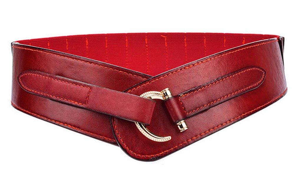 TY belt Women Leather Belt Fashion Hook Designed Buckle Wide Waist Belt Chic Elastic Stretch Waist Band (dark red)