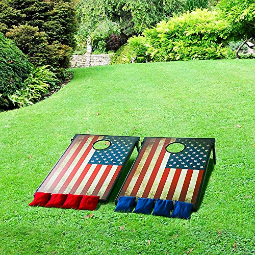 US Fast Shipment Tuscom Pack of 8, 2 X Corn Board, 2-in-1 Weather Resistant Corn Hole Bags, Antique US Flag Primary Colors Carnival Game Set,Suitable for Adventures Fun (Flag)