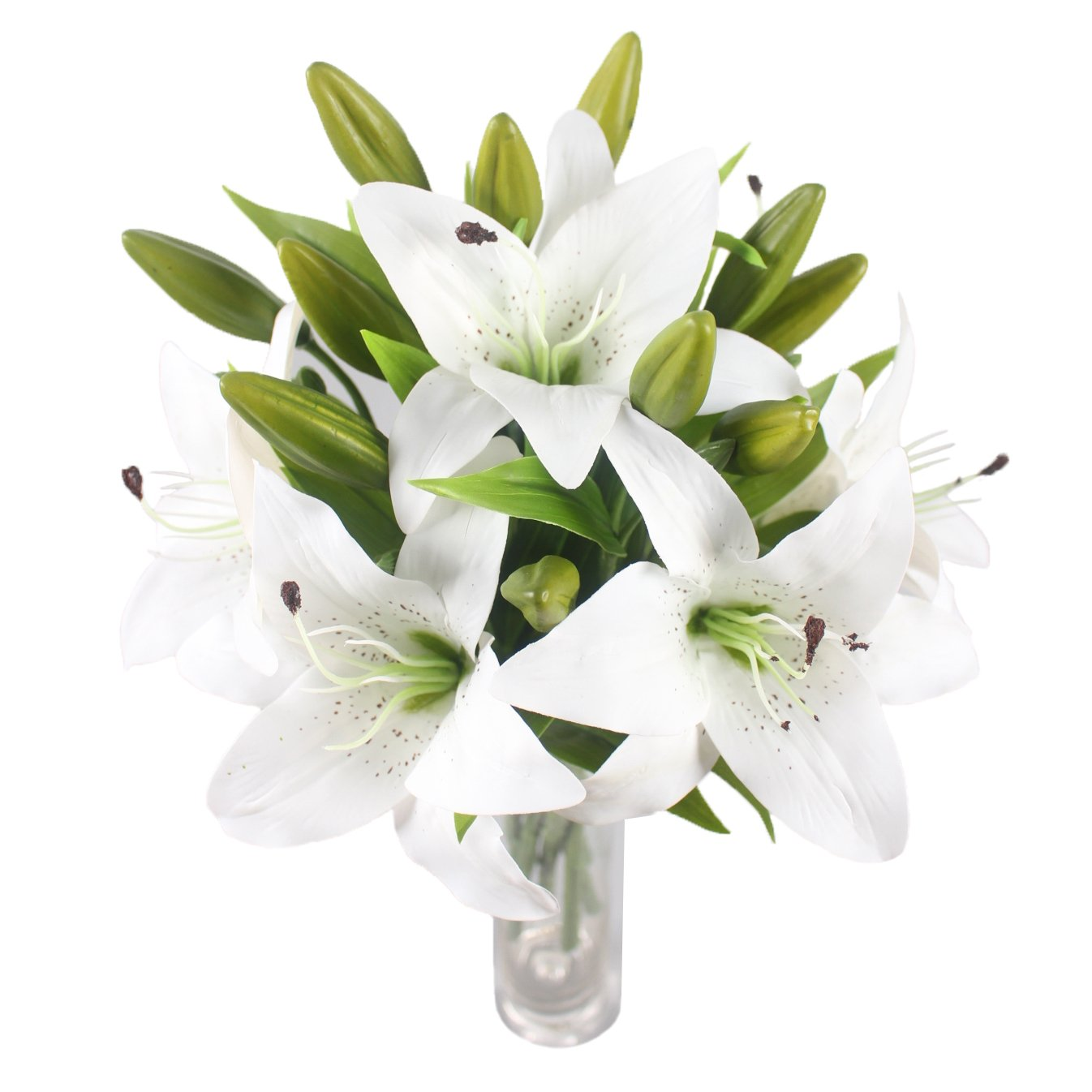 Amazon jarown 6 pcs tiger lily artificial real touch flowers amazon jarown 6 pcs tiger lily artificial real touch flowers wedding bouquets for home office decoration white home kitchen izmirmasajfo