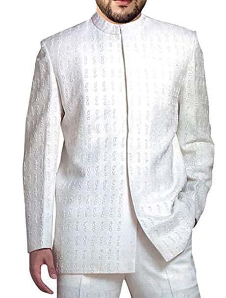 INMONARCH Mens White 2 Pc Jodhpuri Suit Embroidered Nehru ...