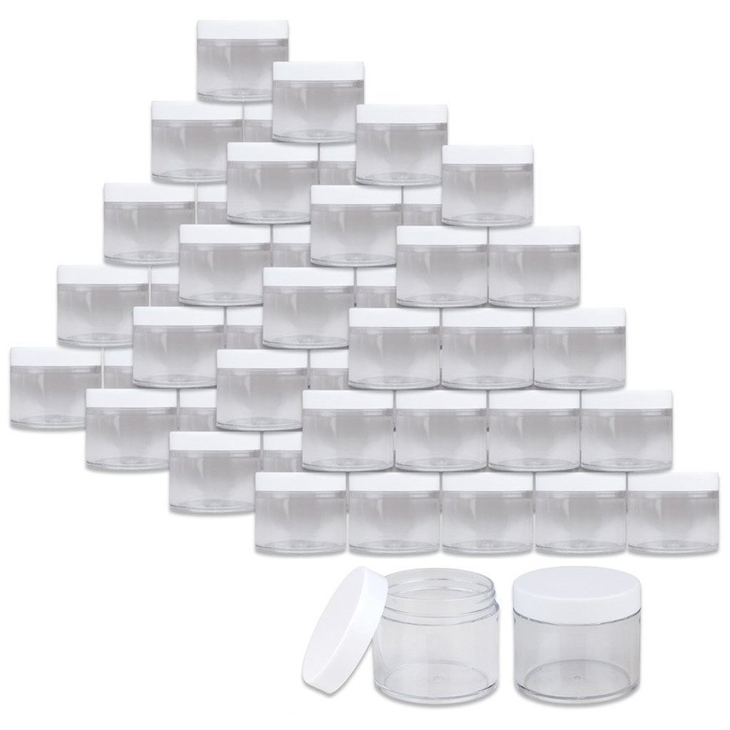 Beauticom 2 oz./60 Grams/60 ML (Quantity: 36 Packs) Thick Wall Round Clear Plastic LEAK-PROOF Jars Container with WHITE Lids for Cosmetic, Lip Balm, Lip Gloss, Creams, Lotions, Liquid