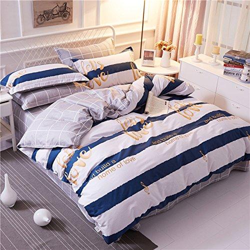 TheFit Paisley Textile Bedding for Young Adult W552 Blue Striped Love Home Duvet Cover Set 100% Cotton, Queen Set, 4 Pieces