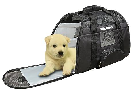 MixMart Bolsa de transporte transpirable de viaje con 2 colchones de peluche extraíbles para perro,