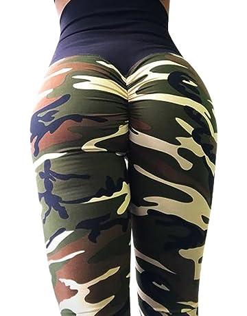 YpingLonk Mujers Pantalones de Yoga de Camuflaje Ejercicio Imprimir Deportes Fitness Correr Atractivo Leggings Deportivos Cintura