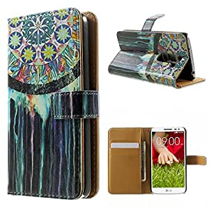 Para LG G2 mini , ivencase Painted Dream Catcher Patrón [Magnética] Billetera PU Cuero Textura Closure Flip With Built-in Media Stand and Ranuras Tarjetas Crédito Protector Funda Carcasa Tapa Case Cover Para LG G2 mini D620