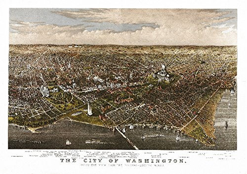 (District of Columbia, Washington - Panoramic Map (12x18 Signed Print Master Art Print w/Certificate of Authenticity - Wall Decor Travel Poster))