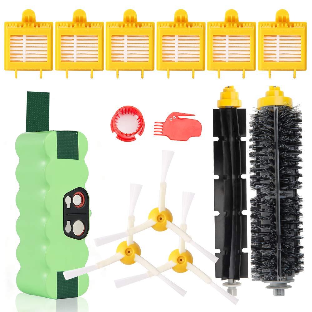 Batería de repuesto Ni-MH Super Capacidad 3800mAh para iRobot Roomba + Kit de cepillo para iRobot Roomba 700 720 750 760 770 772e 776 776p 780 782e 786 786p ...