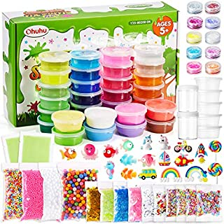DIY Crystal Clay Slime Kit for Girls Boys, Ohuhu 86 Pack Ultimate Glow in The Dark Glitter Slime Making Kit Arts Crafts with Supplies, 24 Crystal Slime, 8 Light Clays, Unicorn and Other Accessories