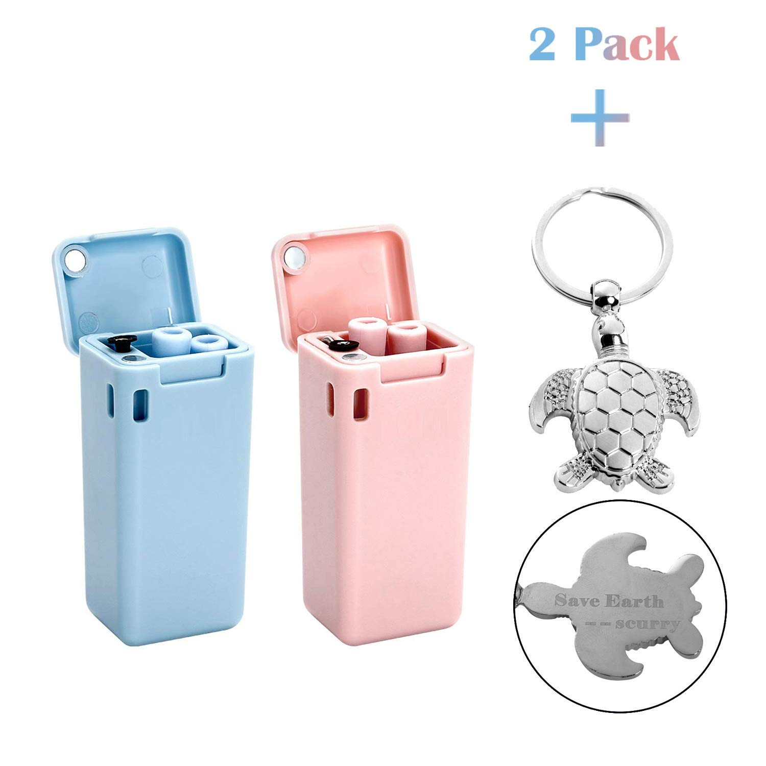 Reusable Straw Metal Straw Save the Turtles Straw Metal Straws With Case Portable Straw Stainless Steel Folding Drinking Straws, 2 Pack (Pink & Blue) by MMIO