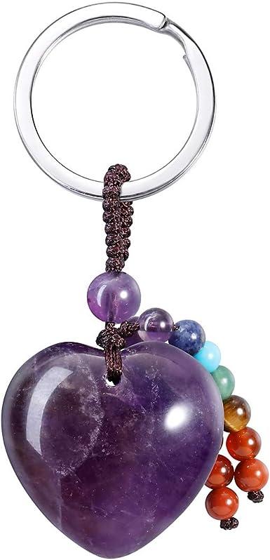 A Chakra Reiki Healing Gemstone with gift bag Amethyst Gemstone Keyring The Healing Stone