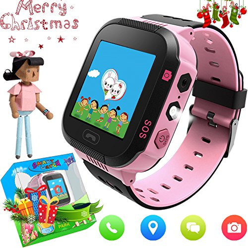 Kids Smart Watch with Camera GPS Tracker for Boys Girls Maths Game Alarm Clock Cell Phone Call Children Learning Wrist Wearable Bracelet Compatible with Android iPhone (02 G3E Pink)