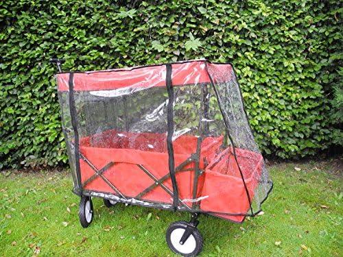 BIECO 22000116 Chariots Pliables avec Toit et Protection Contre la Pluie, 110 x 50 x 92 cm, 75 kg, Rouge