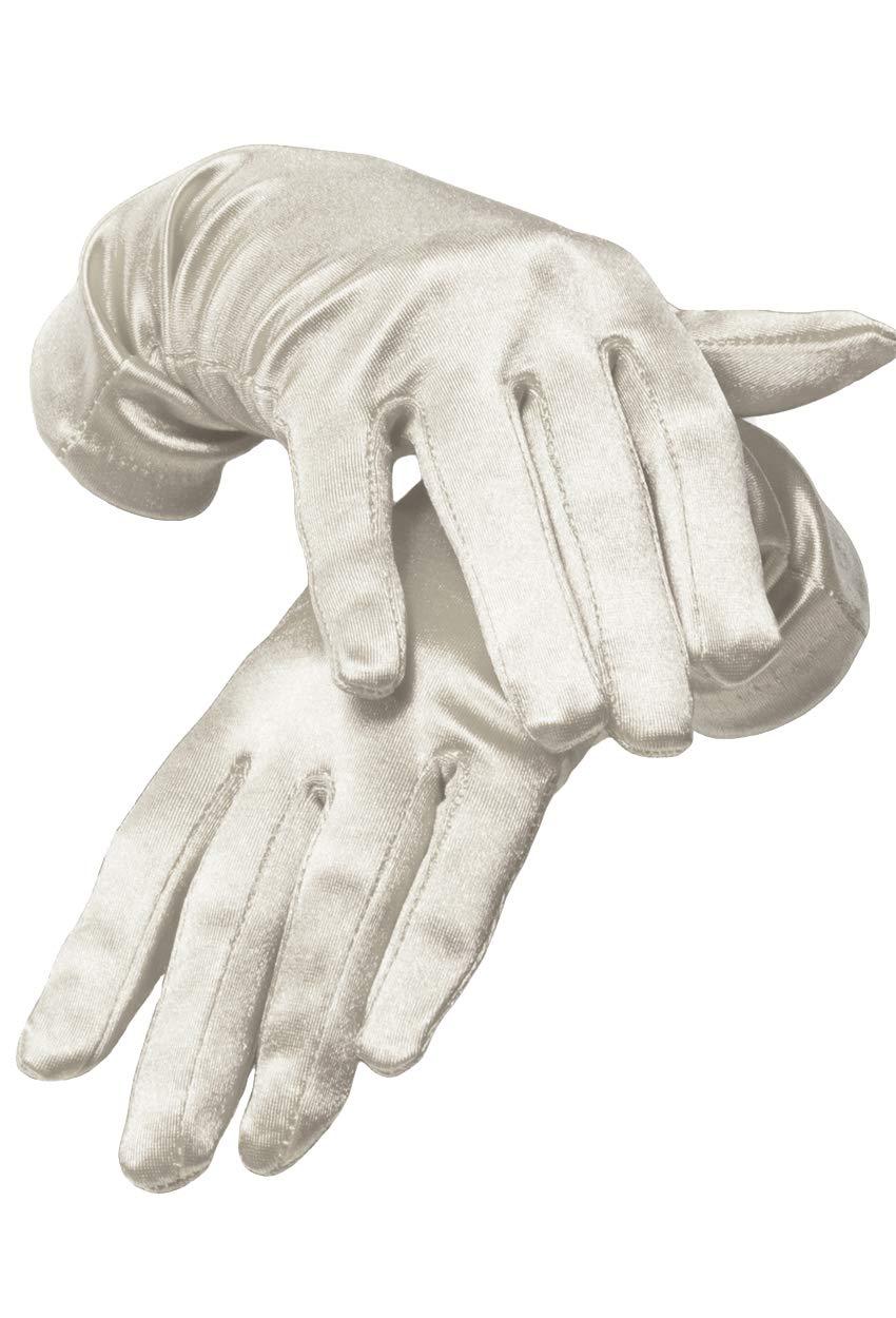 KMystic Dress Wrist Length Satin Gloves (Off- White)