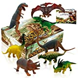 Dinosaur toys,Toy dinosaurs Plastic Dinosaur Figures Movable Dinosaurs Set Party Favors For 3 Year olds Including T rex Toy And Dinosaur Book 8 pcs (4pc 10'',4pc 6'')