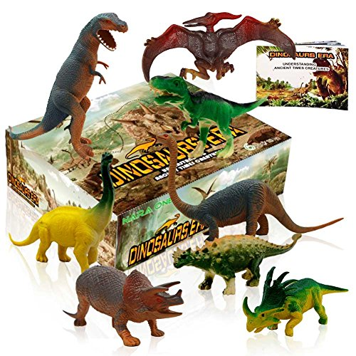 Dinosaur toys,Toy dinosaurs Plastic Dinosaur Figures Movable Dinosaurs Set Party Favors For 3 Year olds Including T rex Toy And Dinosaur Book 8 pcs (4pc 10'',4pc 6'') by NARA ONE
