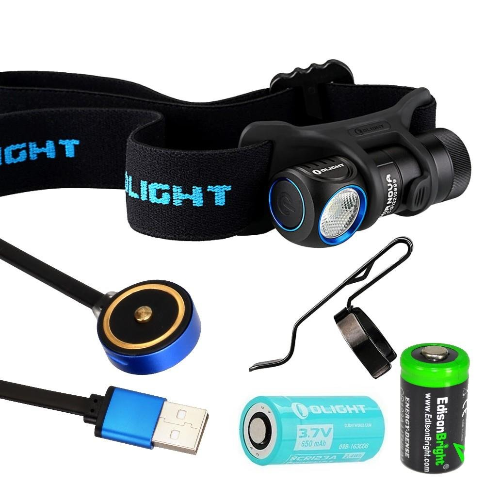Olight H1R Nova rechargeable 600 Lumens LED headlamp / utility light with RCR123 Li-ion battery , flex magnetic USB charging cable and EdisonBright CR123A back-up Battery bundle (Cool White LED)