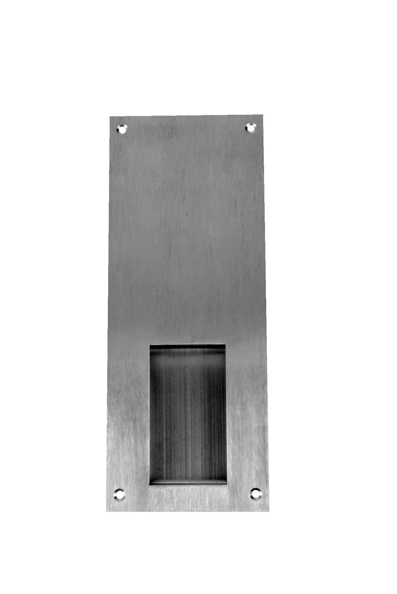 Don-Jo 1858 16 Gauge Stainless Steel Flush Cup Pull, Satin Stainless Steel Finish, 4'' Width x 10'' Height x 3/4'' Depth