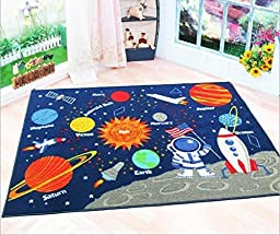 Kids Rug Educational Learning Carpet Galaxy Planets Stars Blue 3.3\' x 4.5\