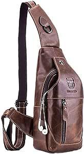 Vintage Leather Sling Bag Backpack for Men Women Crossbody Shoulder Chest Day Pack Backpacks Daypacks Outdoor Travel